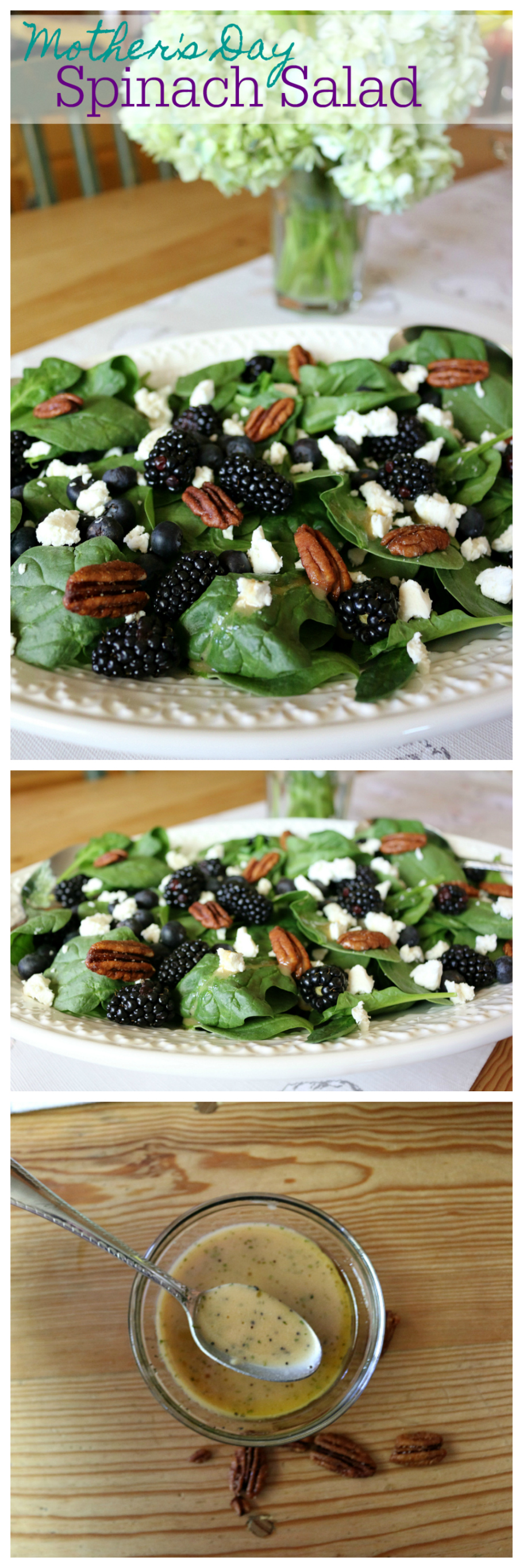 Spinach Salad with Poppy Seed Dressing CeceliasGoodStuff.com  Plus 5 amazing spinach salads Mom will LOVE!