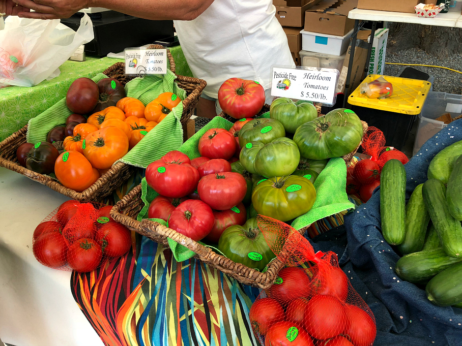 Amazing Heirloom Tomatoes from the Downtown Farmers Market in Boulder, Colorado.