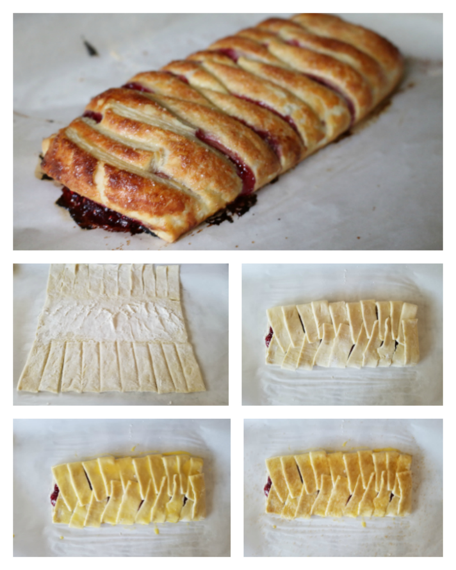 Rhubarb and Raspberry Strudel made with puff pastry - CeceliasGoodStuff.com Good Food for Good People