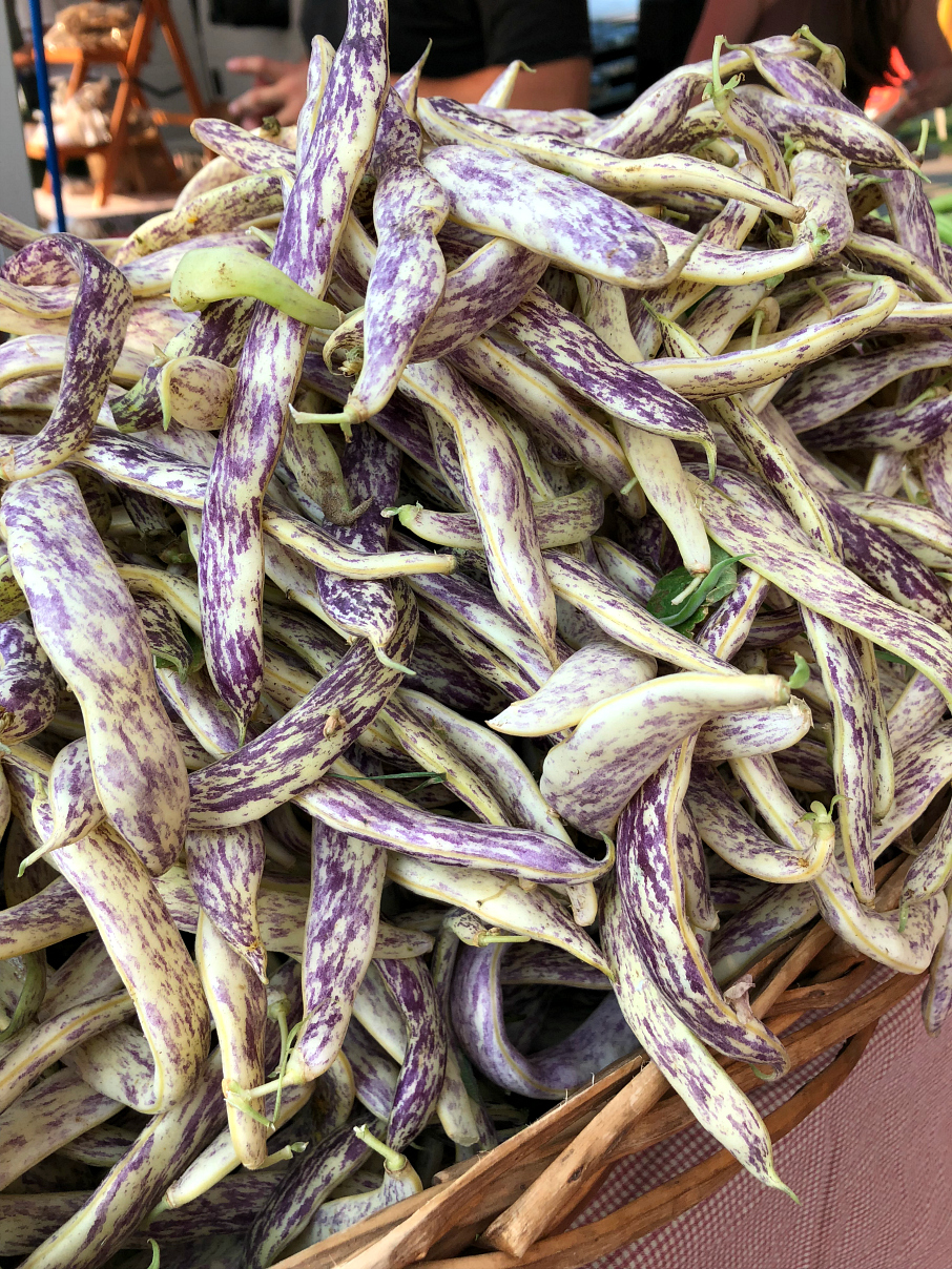 Fresh cut Anasazi beans from the Downtown Farmers Market in Boulder, Colorado.