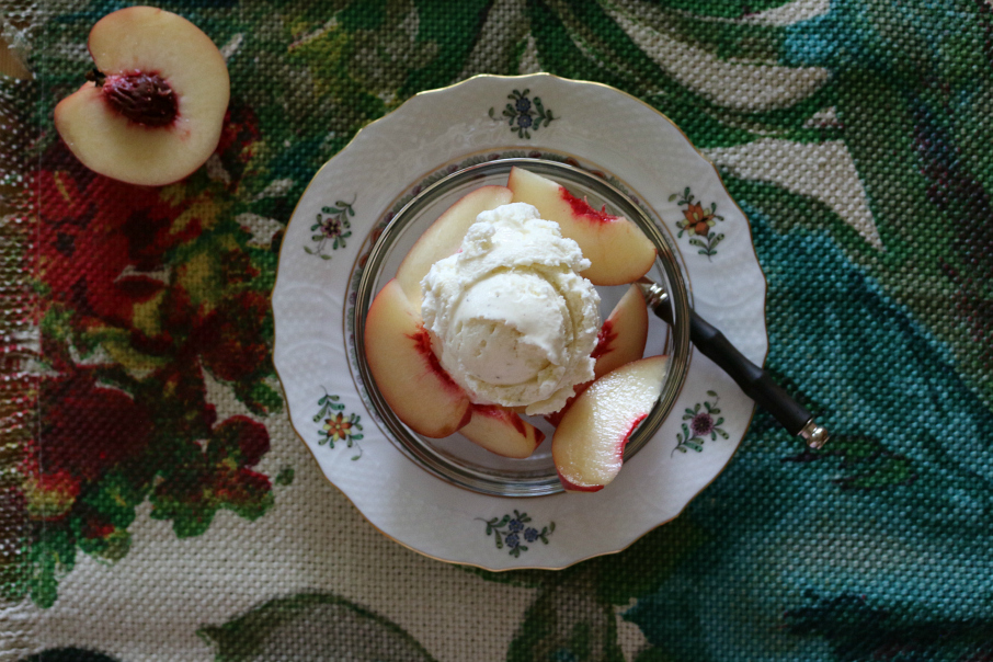 White Peaches served with Vanilla Bean Ice Cream CeceliasGoodStuff.com   Good Food for Good People